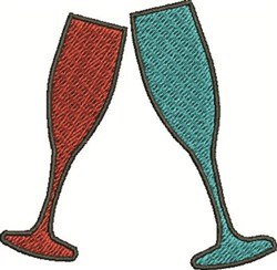 Champagne Glasses embroidery design