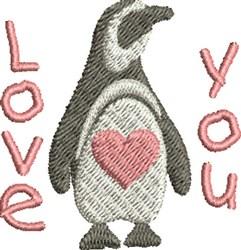 Love You Penguin embroidery design