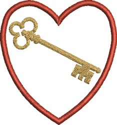 Key Heart embroidery design