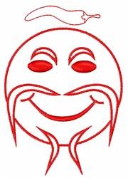 Fu Manchu Smiley Face embroidery design