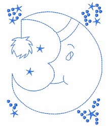 Moon Outline embroidery design