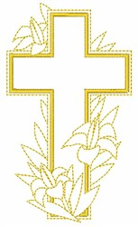 Easter Cross and Lilies embroidery design