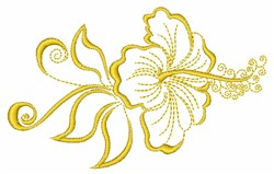 Hibiscus Flower Outline embroidery design