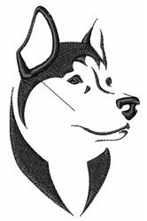 Husky Head Outline embroidery design