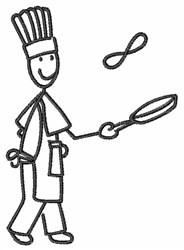 Cook Outline embroidery design