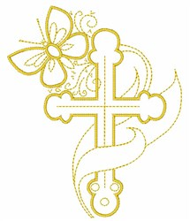 Cross And Butterfly embroidery design