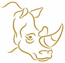 Rhino Head Outline embroidery design
