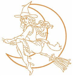 Witch Outline embroidery design