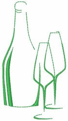 Wine Bottle and Glasses embroidery design