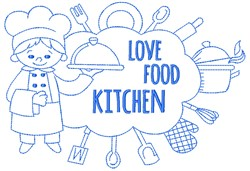 Love, Food, Kitchen embroidery design
