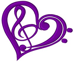 Music Clef Heart embroidery design