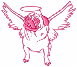 Angel Pug embroidery design