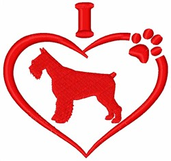 I Love Scottish Terrier Dogs embroidery design