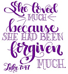 Luke 7:47 embroidery design