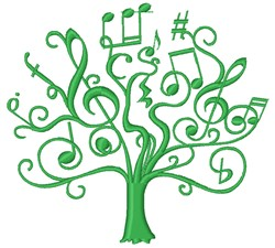 Music Tree embroidery design