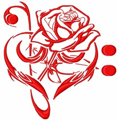 Music Rose embroidery design