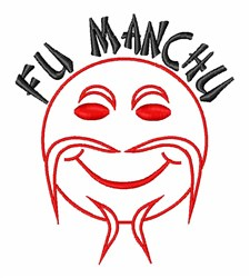 Fu Manchu embroidery design