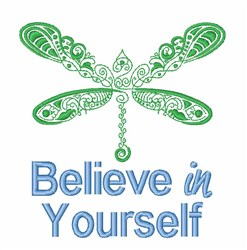 Dragonfly Believe embroidery design
