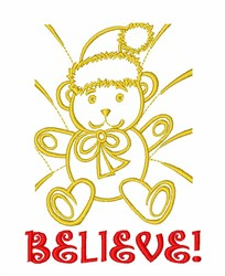 Believe Christmas Bear embroidery design