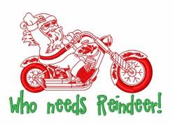 Santa Riding Motorcycle embroidery design