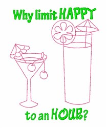 Happy Hour Cocktail embroidery design