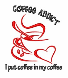 Coffee Addict embroidery design