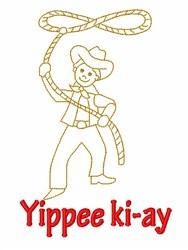Cowboy Roper embroidery design