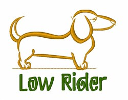 Dachshund Low Rider embroidery design