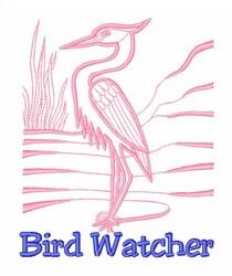 Heron Bird Watcher embroidery design