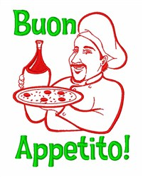 Italian Chef Pizza Wine embroidery design
