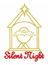 Silent Night Nativity Scene embroidery design