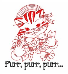 Soft Warm Kitty Cat embroidery design