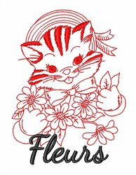 Fleurs Kitty Cat embroidery design