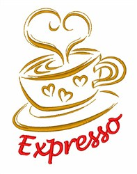 Espresso Coffee Cup embroidery design