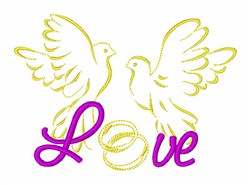 Pigeons Love Rings embroidery design