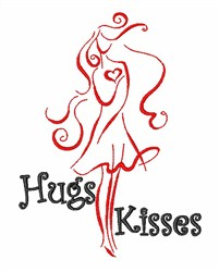 Hugs Kisses Valentine embroidery design