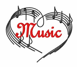 I Love Music Notes embroidery design