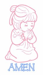 Praying Girl Amen embroidery design