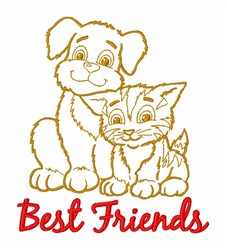 Best Friends Cat Dog embroidery design