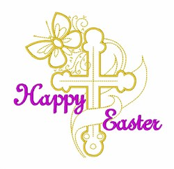 Easter Cross Butterfly embroidery design