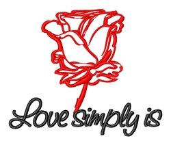 Red Rose Love Valentines embroidery design