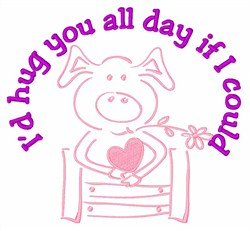 Love Oink Pig embroidery design