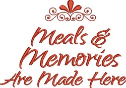 Meals and Memories embroidery design