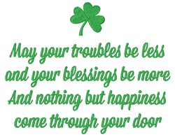 May Your Troubles embroidery design