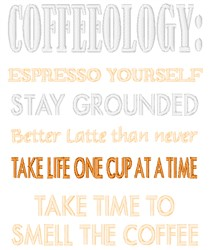 Coffeeology embroidery design