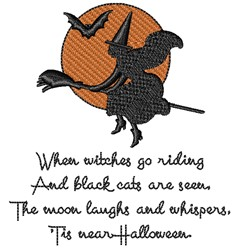 Witches Go Riding embroidery design