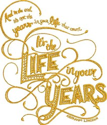 Years In Your Life embroidery design