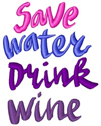 Save Water embroidery design