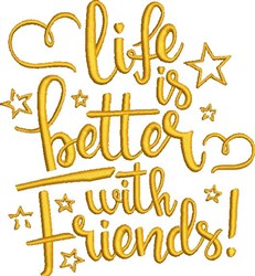 Better With Friends embroidery design