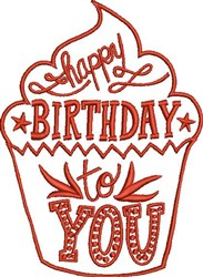 Happy Birthday Cupcake embroidery design